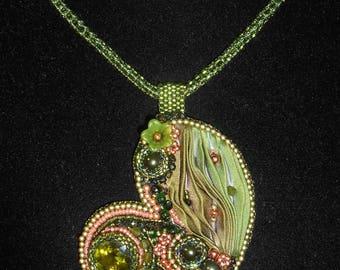 Stunning Olive Green, Rose Gold and Swarovski Crystal Shibori Silk Bead Embroidered Heart Pendant Necklace