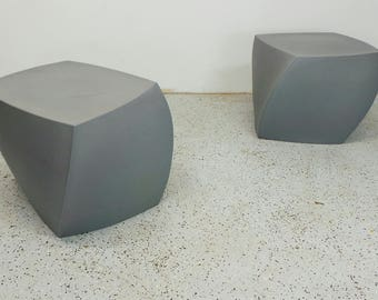 FREE SHIPPING authentic mid century modern Frank Gehry silver resin outdoor twist stools side tables