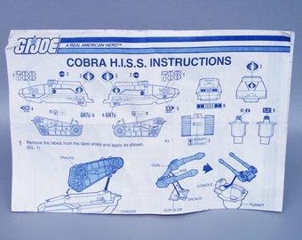 Vintage GI Joe 1983 Cobra H.I.S.S. Instructions