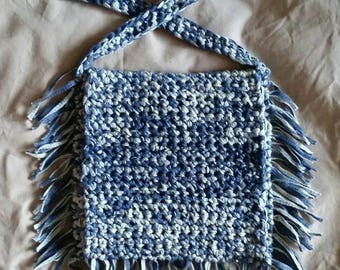 Shoulder bag: Blue Denim Colour. Long handled unique crocheted bag. Made by hand in Hull, 2017 UK City of Culture