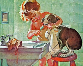 Little Girl Brushes Dog's Teeth, Great Bathroom Print, Great Gift for Dentist, Graduating Dental Student  #449