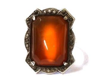 Art Deco Carnelian Marcasite Ring