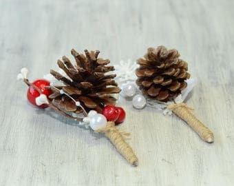 White Red Brown Rustic Wedding Boutonniere groom groomsman pine cone  Boutonniere custom Fall Winter Boutonniere Groom Lapel Pin Christmas