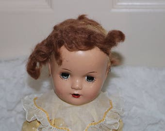 Vintage 1930s/40s Composition Toddler Doll - Composition Body - Marked PL on the Back of Head - Glass Sleep Eyes - Mohair Wig