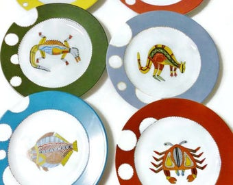"Plate porcelain decor ""Aborigines of Australia"""