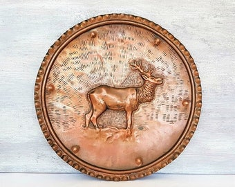 SALE Antique Italian Large Copper Plate Moose,Solid Copper Decorative Plate,Hand Hammered Copper Plate Tray,Rustic Country kitchen
