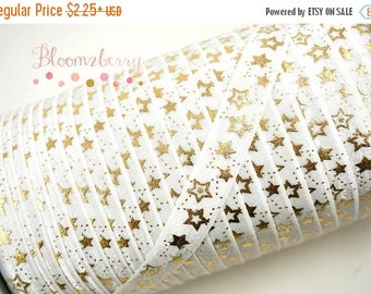 "Summer SALE 10% OFF 5/8"" PRINTED Fold Over Elastic - White Gold Stars - Metallic Gold Print Foe - Everyday/party/Holidays-Hair Accessories S"