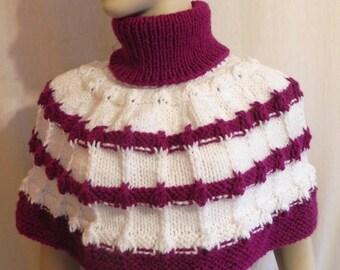 shoulder Cape shoulder warmer knit shawl handmade Turtleneck Fuchsia/white accessories for women's fashion