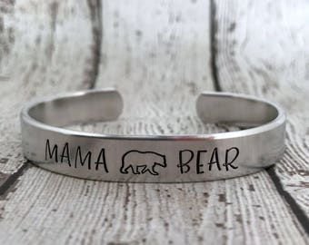 Mama Bear Cuff, Mama Bear Jewelry, Gift for Mom, Mama Bear Bracelet, Mom Gift, Gift for New Mom, Mama Bear Cuff Bracelet, Mom Jewelry