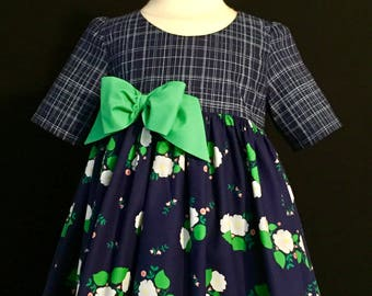 Girls navy and green dress size 4 ready to ship MADE in the USA