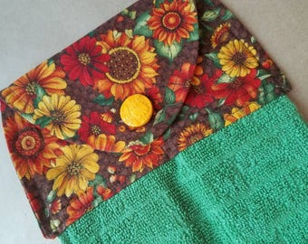 Fall Flowers Hanging Kitchen Towel, Dish Towel, Autumn Kitchen Decor, Zinnia and Sunflower Kitchen, Brown, Green, Button Top, Gifts under 20
