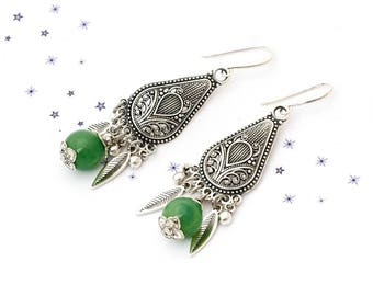 blown green glass jade bead dangling earrings
