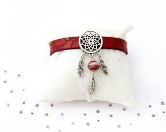 dreamcatcher Lampwork Glass red bead leather bracelet