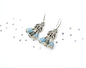 ice blue glass bead dangle earrings