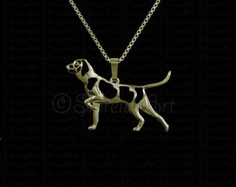 Pointing Bracco Italiano movement - Gold pendant and necklace