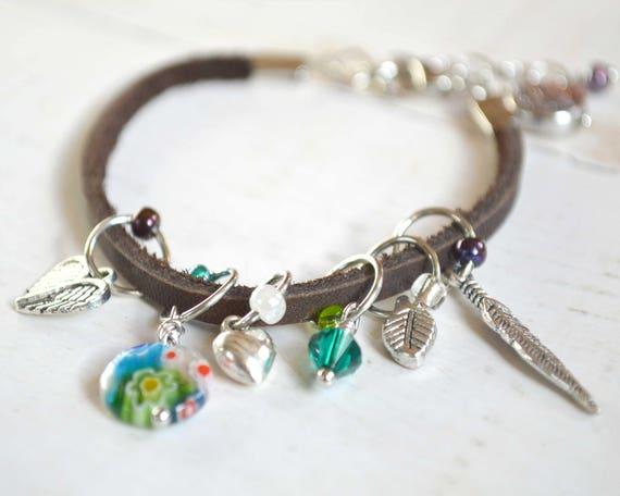 Stitch Marker Bracelet - Leather - Charms - Adjustable Bracelet with 6 Snag Free Stitch Markers