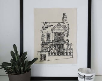 Textile Embroidery House or Venue Illustration