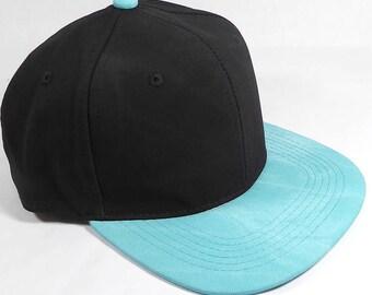 Custom Embroidery Snap Back Black and Aqua Teal Turquoise Brushed Flat Bill Hat Snapback