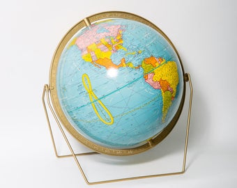 "George F. Cram Scholastic World Globe 12"" Desktop Globe 1960s Mid Century Modern Brass Hairpin Base Embossed Meridian MCM Map"