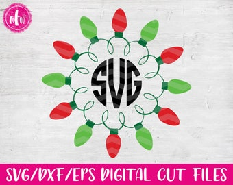 Christmas Lights Monogram Frame, SVG, DXF, EPS, Cut File, Vinyl, Vector, Holiday, Tree, Ornament, Elf, Silhouette, Cricut