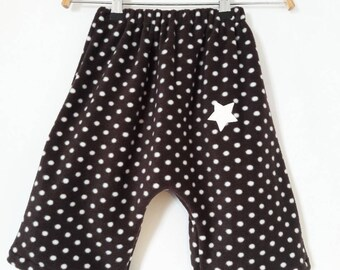 pants 12 months in dark brown fleece and white polka dots.