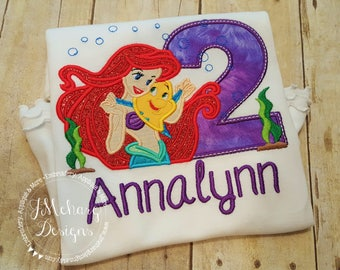 Mermaid Birthday Custom Tee Shirt - Customizable -  Infant to Adult 3b
