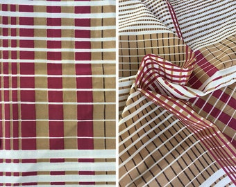 Vintage fabric destash | Geometric print Couleur International maroon and tan checked satin fabric