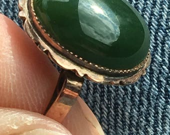 FRESH From An ESTATE SALE 18K Solid Gold Natural and Genuine Jade Ring - Size 7