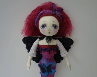 OOAK- Art doll-Butterfly girl-Spirit doll - Fabric -Cloth- Doll Artist Cheryl Austin