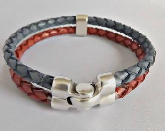Leather bracelet, mens bracelet, leather jewelry, braided bracelet, leather bracelet men, men bracelet, men bracelet gift, bracelet mens