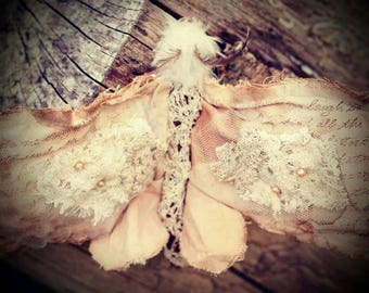 Vintage moth textile wall hanging soft brown muted shades contains vintage lace and beading wall art great birthday gift quirky and unusual