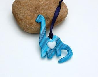 Fused Glass Dinosaur Ornament