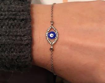Evil Eye Rhinestone Bracelet, Silver Amulet,  Rhinestone Blue Bracelet, Blue Evil Eye Charm, Good Luck Jewelry, Happy Valentines Day Gifts,