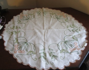 Embroidered Linen Doily with Wrapped Hem