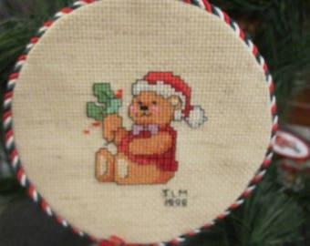 Teddy BEarwith Holly Christmas Tree Onnament