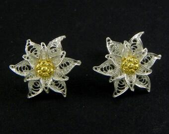 Edelweiss Earrings , Silver filigree - made in Italy