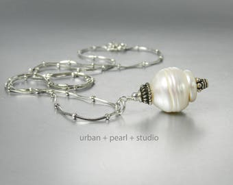 Large Baroque Pearl Pendant Necklace Big Pearl Drop Unique Pearl Necklace  Gifts Under 100 Dollars