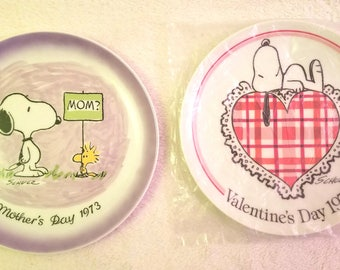 Vintage Snoopy Plates - Mother's Day 1973, Valentine's Day 1977