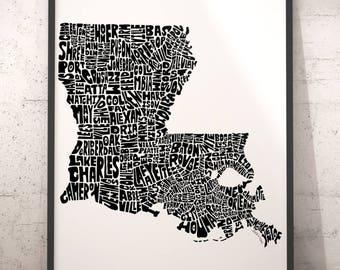 Louisiana Map Etsy - Map of louisiana cities