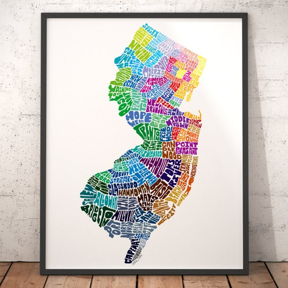 New Jersey Typography Map New Jersey Art Print Map Of New - Nj state map with cities