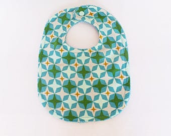 Mint green and white pattern 0-6 months baby bib with Mint green, turquoise, mustard stars and sponge