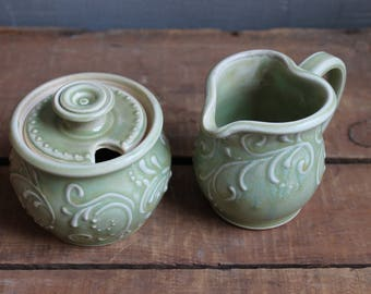 Cream and Sugar Set, Winter Green, Creamer, Sugar Bowl, Handmade, Ceramic, Mothers Day gift, present, MADE TO ORDER