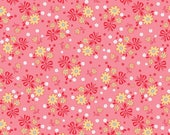 Calico Days/Pink and Yellow Flower Fabric/Lori Holt/Riley Blake Designs/Cotton Material/Quilting, Clothing, Craft/Fat Quarter, By The Yard
