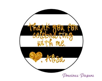 black white and gold stickers, black white and gold party favor stickers, any occassion  printed and shipped to you