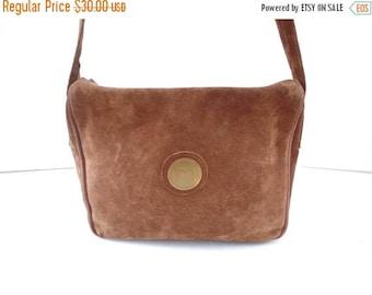 ON SALE Vintage 70s Suede Crossbody Bag, 1970s Brown Suede Shoulder Bag, Chocolate Brown Suede Purse