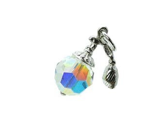 Sterling Silver Swarovski Crystal Set Atomiser Charm For Bracelets