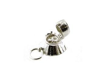 Sterling Silver Opening Bee In Bonnet Charm For Bracelets