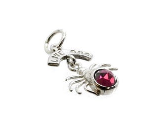 Sterling Silver Garnet Set Love Bug Spider Charm For Bracelets