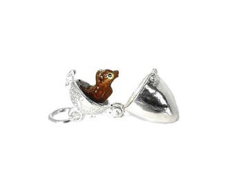Sterling Silver Opening Large Squirrel In Acorn Charm For Bracelets