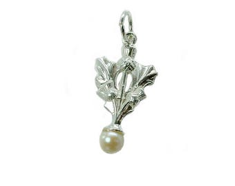 Sterling Silver Cultured Pearl Set Thistle Charm For Bracelets
